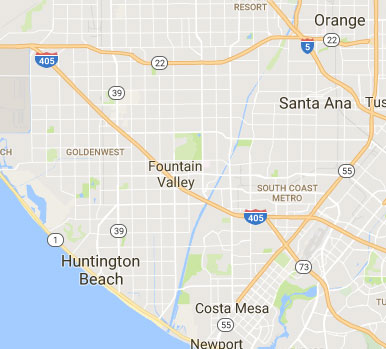 map of Fountain Valley, CA and other cities in Orange County